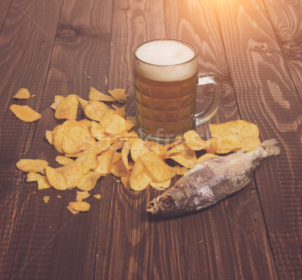 Salted fish, chips and beer Stock photo © dmitroza