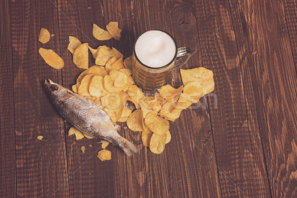 Chips, beer and fish Stock photo © dmitroza