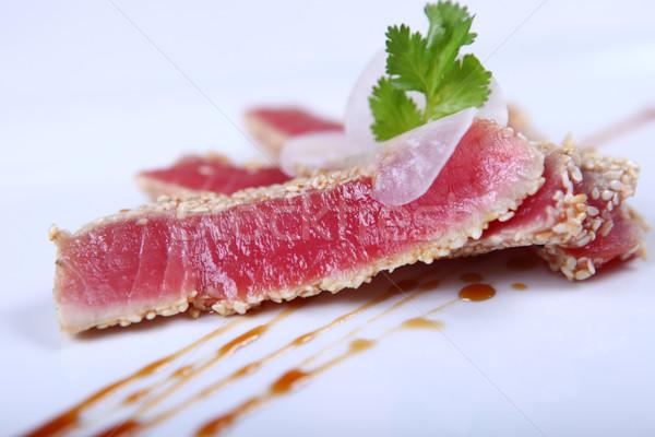свежие тунца мяса белый пластина Сток-фото © dmitroza
