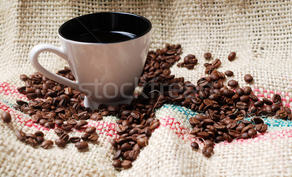 cup of coffee and coffee  beans Stock photo © dmitroza