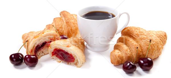 Croissants koffiekopje vers koffie zoete smakelijk Stockfoto © dmitroza