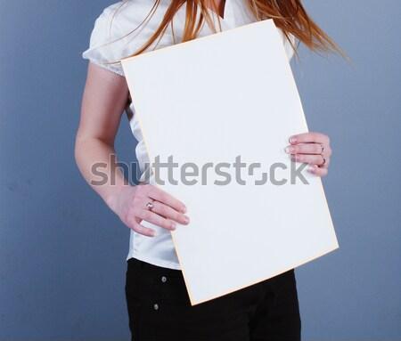 Nő plakát kék üzlet űr fekete Stock fotó © dmitroza