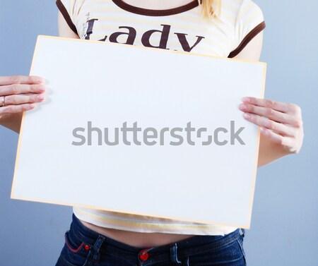 Nő plakát kék papír felirat kártya Stock fotó © dmitroza