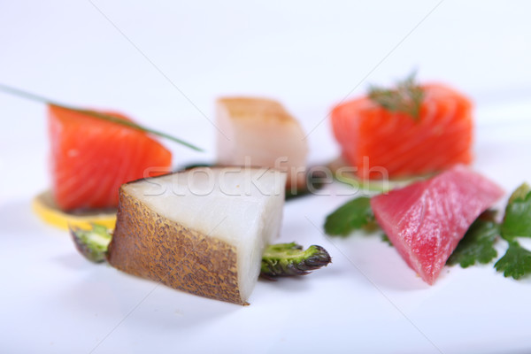 świeże sashimi odznaczony zielenina wapno Zdjęcia stock © dmitroza