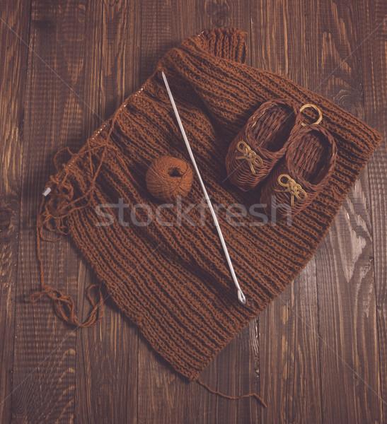 Gebreid schoenen stuk kinderen bruin draad Stockfoto © dmitroza