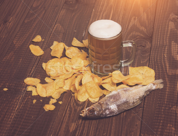 Chips with beer and fish Stock photo © dmitroza