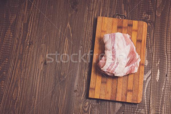 Stuk varkensvlees plank tabel biefstuk maaltijd Stockfoto © dmitroza