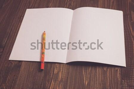 Potlood vel papier houten tafel hout witte Stockfoto © dmitroza