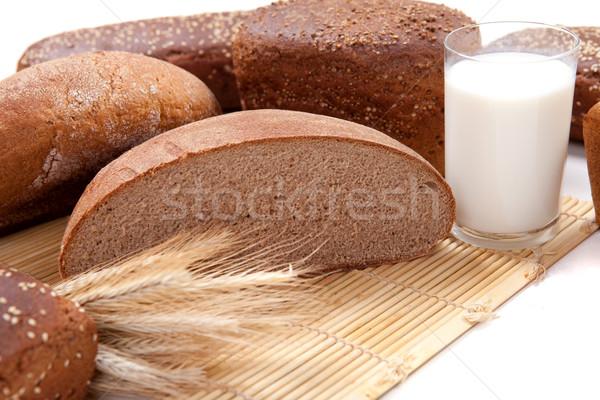Marrom pão fresco vidro leite trigo Foto stock © dmitroza