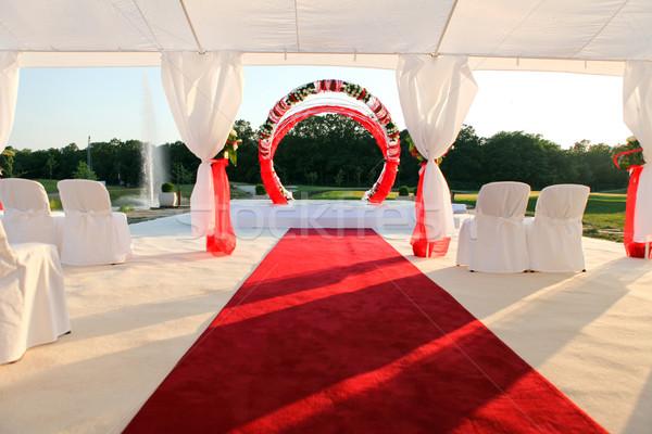 Ceremonia blanco decoración alfombra roja boda silla Foto stock © dmitroza