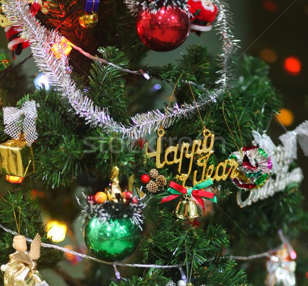 árvore de natal verde artificial decorado natal brinquedos Foto stock © dmitroza