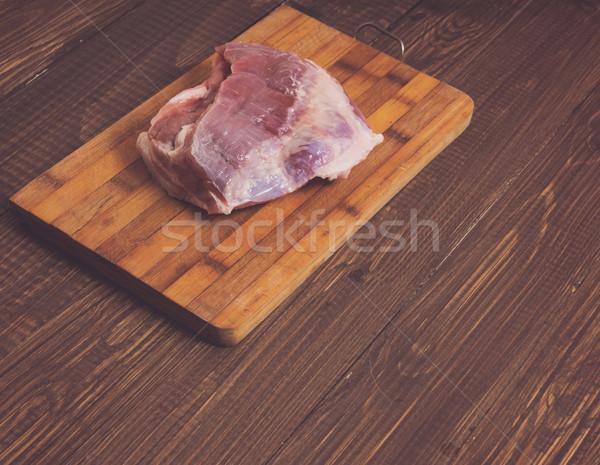 Stockfoto: Plank · groot · varkensvlees · stuk · houten · tafel · biefstuk