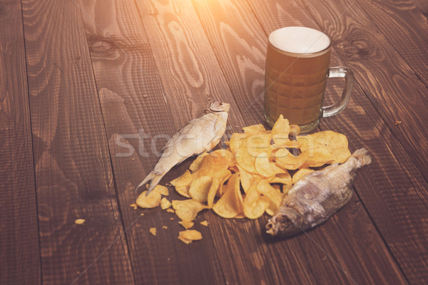 Beer with fish and chips Stock photo © dmitroza