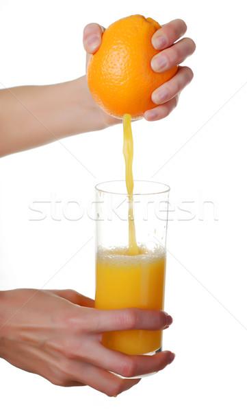 Handen glas sap sinaasappelsap witte achtergrond Stockfoto © dmitroza
