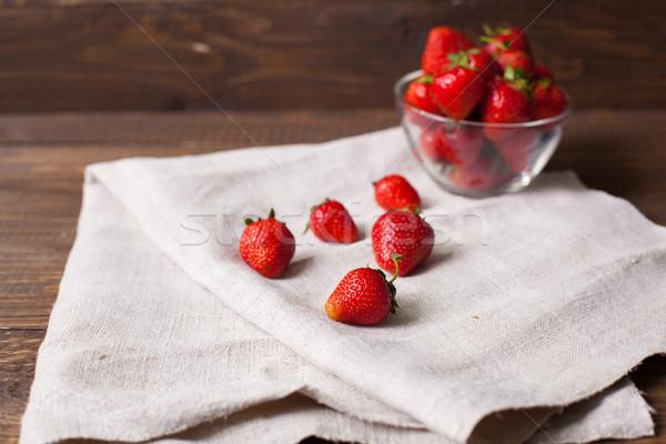 Strawberries in the glass bowl Stock photo © dmitroza