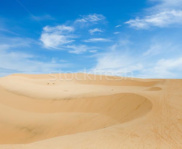 Calor desierto paisaje cielo azul cielo azul Foto stock © dmitroza