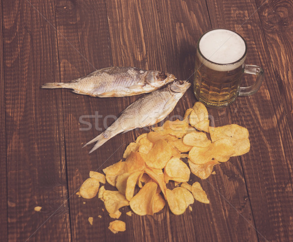 Beer, two fishes and chips Stock photo © dmitroza