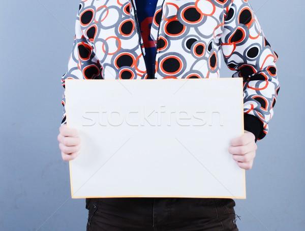 Man takes placard Stock photo © dmitroza