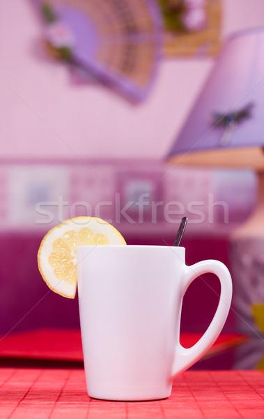 Branco copo tabela preto chá peça Foto stock © dmitroza