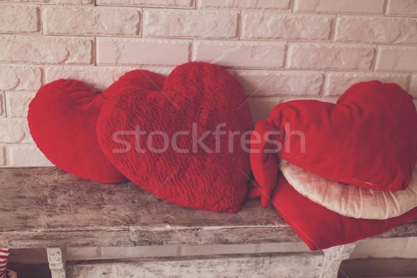 Sevimli ahşap bank sevmek oda Stok fotoğraf © dmitroza
