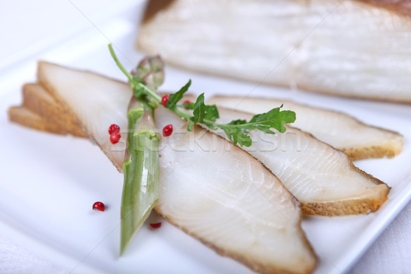 Fresh white fish with salad Stock photo © dmitroza