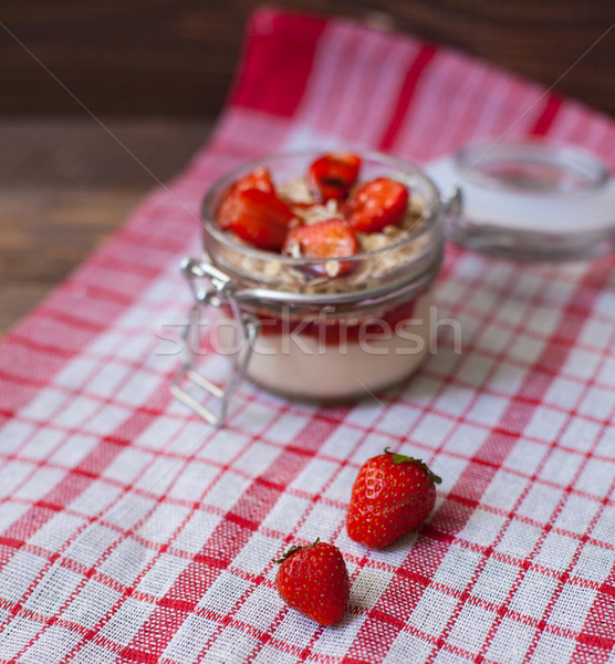新鮮な イチゴ テーブルクロス クリーム 燕麦 ストックフォト © dmitroza