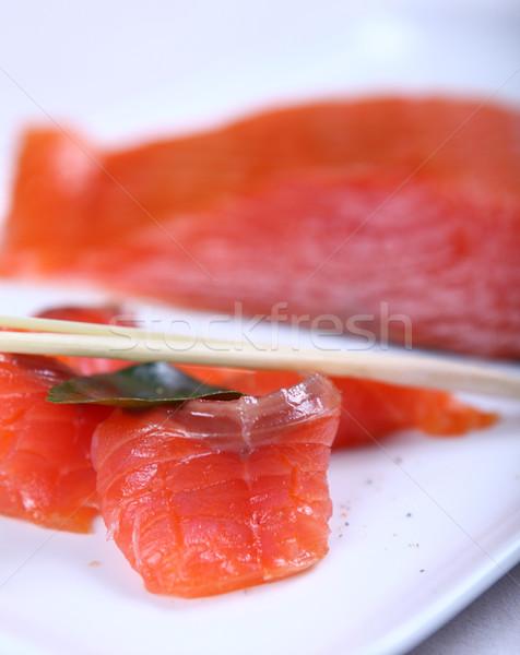 Fresco salmão vermelho branco prato Foto stock © dmitroza