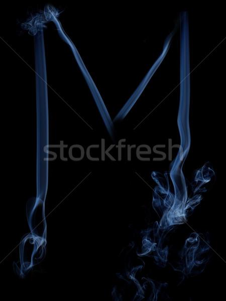 Füst levél szürke m betű fekete felirat Stock fotó © dmitroza