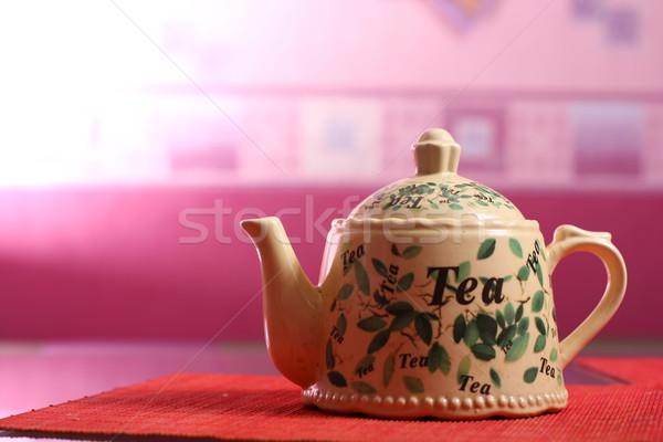 Theepot tabel keuken groene Stockfoto © dmitroza