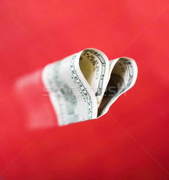 Coração cem dólares forma vermelho assinar Foto stock © dmitroza