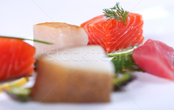 свежие сашими украшенный извести Сток-фото © dmitroza