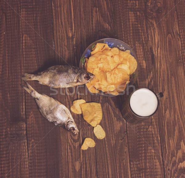 Bier knapperig chips vis gedroogd schotel Stockfoto © dmitroza