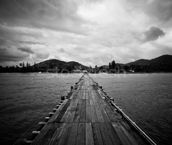 Ponte água floresta céu nuvens Foto stock © dmitroza