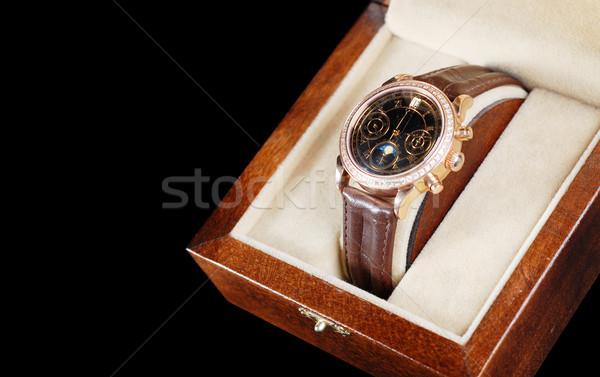 Stockfoto: Vak · sieraden · leder · armband · houten