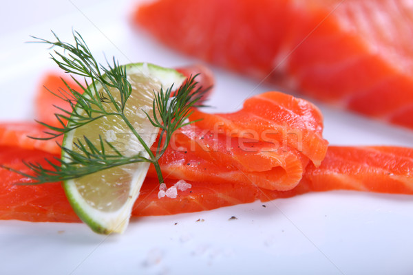 Vers zalm ruw Rood witte plaat Stockfoto © dmitroza