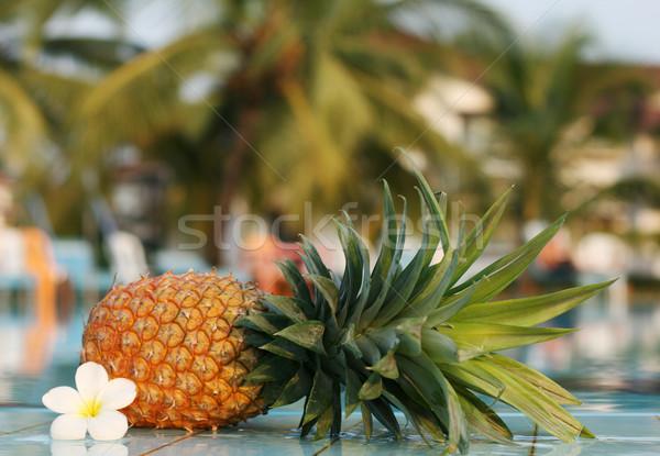 fresh pineapple and pool Stock photo © dmitroza