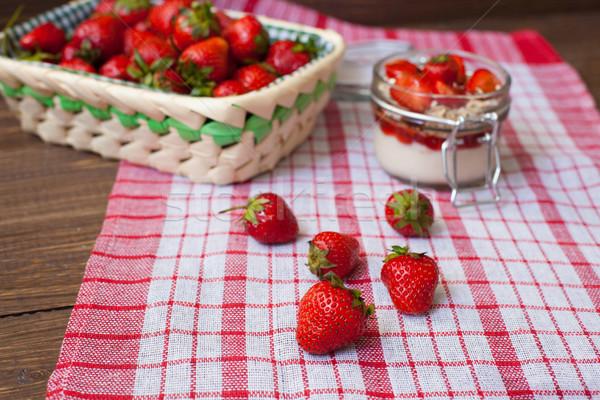 Friss eprek asztalterítő kosár krém zab Stock fotó © dmitroza