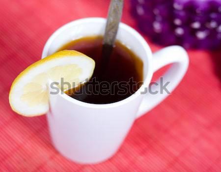 ストックフォト: カップ · 茶 · 砂糖 · ボウル · 黒 · 水