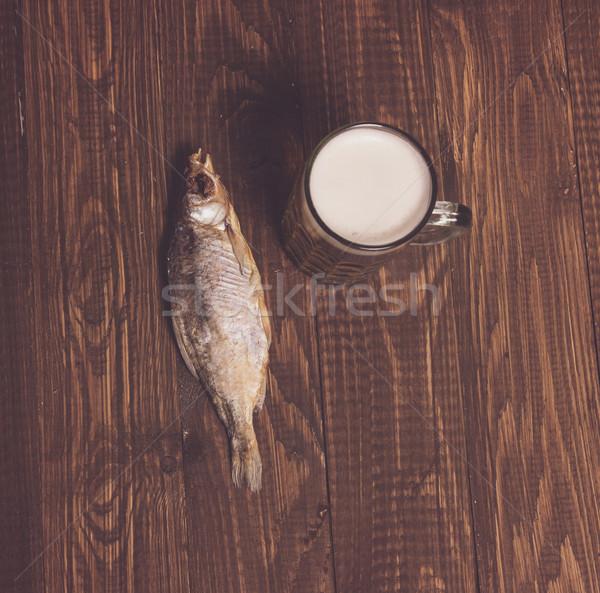 Frithy beer and fish Stock photo © dmitroza