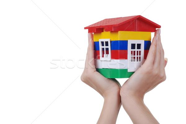 Handen speelgoed kleur huis plastic Rood Stockfoto © dmitroza
