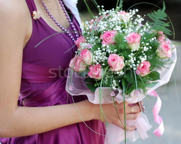 подружка невесты букет молодые невеста платье роз Сток-фото © dmitroza