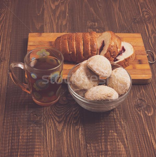 Pan té sabroso taza de té plato atasco Foto stock © dmitroza