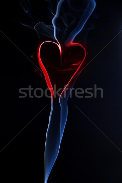 Foto stock: Coração · fumar · azul · textura · preto · vermelho