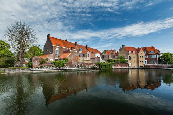 Belçika kanal ortaçağ evler ev nehir Stok fotoğraf © dmitry_rukhlenko