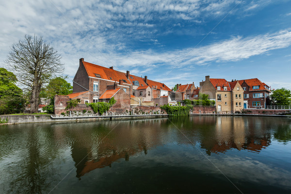 Belgio canale medievale case home fiume Foto d'archivio © dmitry_rukhlenko