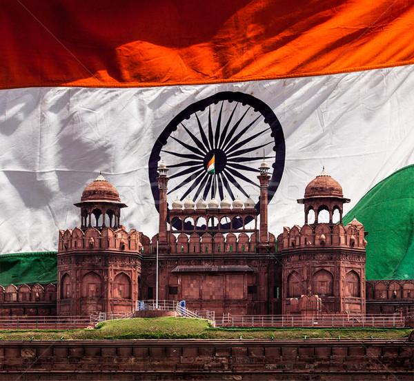 Piros erőd indiai zászló Delhi India Stock fotó © dmitry_rukhlenko