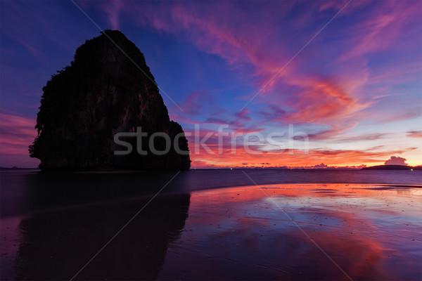 Gün batımı plaj krabi Tayland tropikal tatil Stok fotoğraf © dmitry_rukhlenko