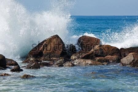 Waves breaking against the rocks Stock photo © dmitry_rukhlenko