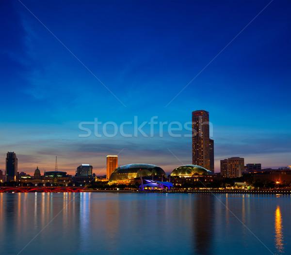Singapore skyline evening Stock photo © dmitry_rukhlenko