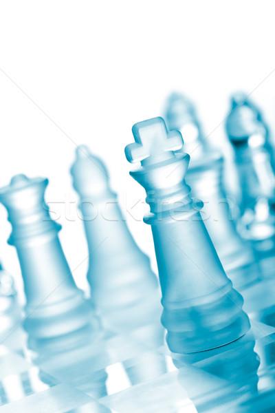 Verre échecs échiquier succès blanche jouer Photo stock © dmitry_rukhlenko